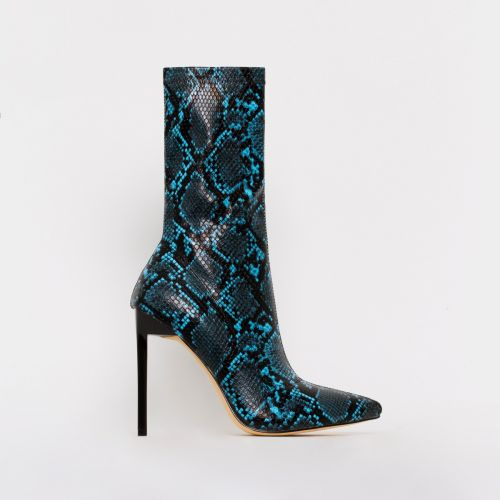 Lucinda Blue Snake Print Stiletto Ankle Boots