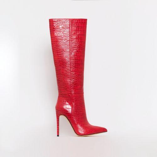 Delia Red Croc Print Stiletto Knee Boots