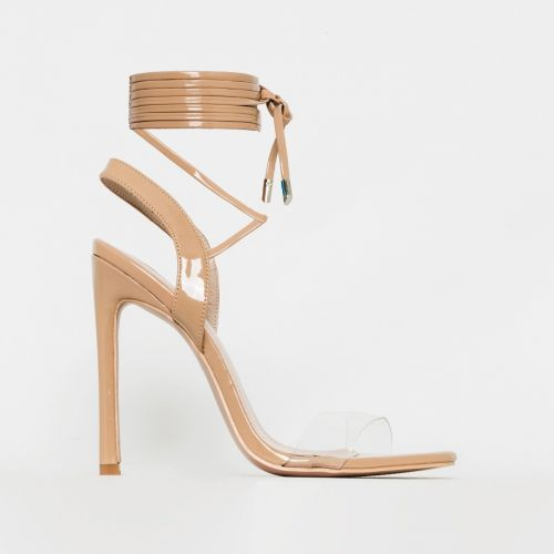 Ella Latte Nude Patent Clear Lace Up Heels