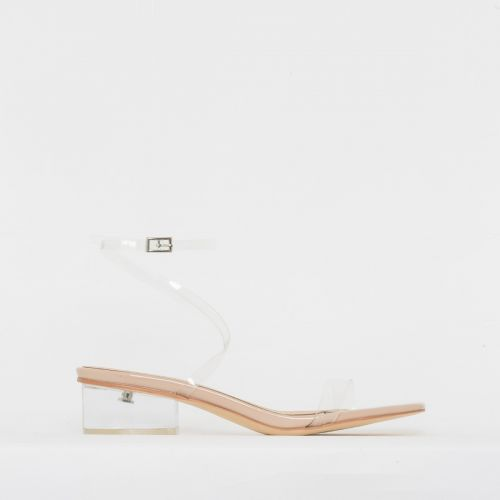 Kia Nude Patent Clear Low Block Heels