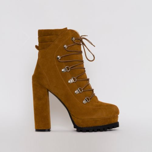 Jackson Tan Suede Lace Up Platform Ankle Boots