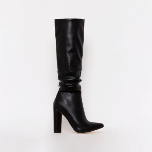 Kimora Black Ruched Block Heel Knee Boots