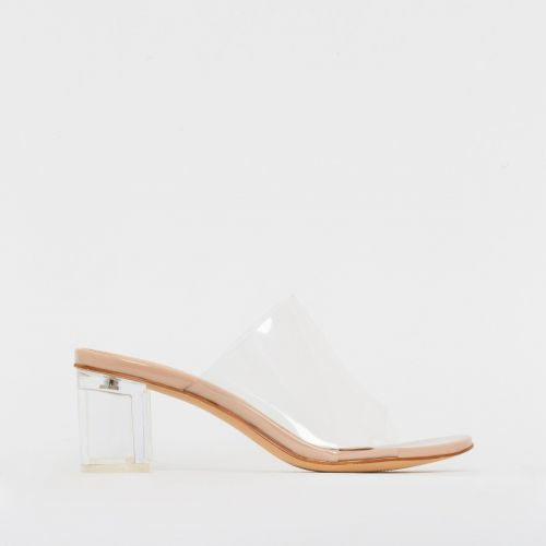 Chloe Nude Patent Clear Mid Block Heel Mules