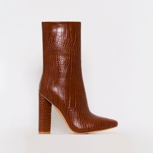 Katy Tan Croc Print Block Heel Ankle Boots