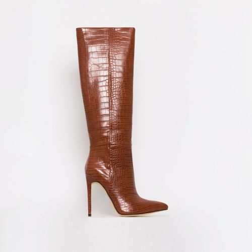 Delia Tan Croc Print Stiletto Knee Boots