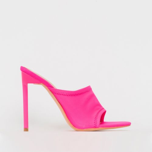 Tiana Neon Pink Lycra Stiletto Mules