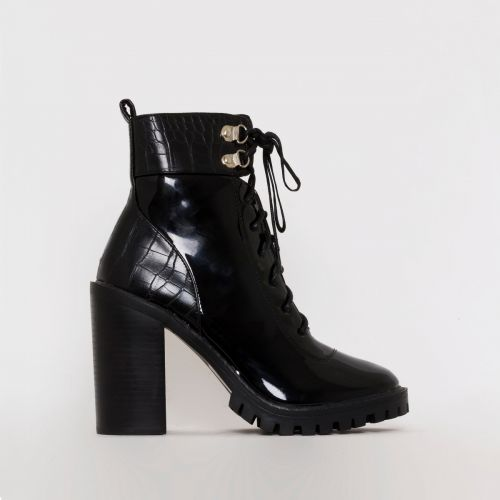 Gia Black Patent Croc Print Block Heel Lace Up Ankle Boots