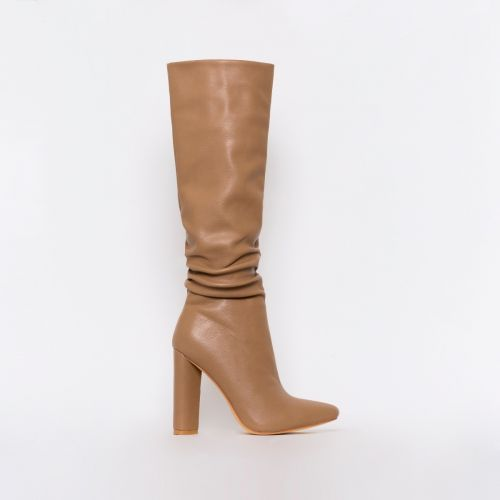 Kimora Dark Beige Ruched Block Heel Knee Boots