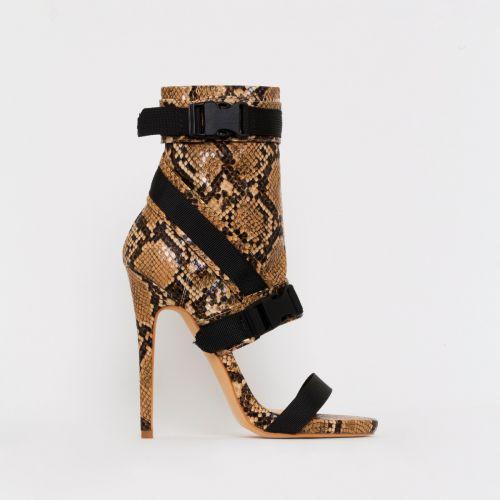 Atlanta Beige Snake Print Buckle Stiletto Heels