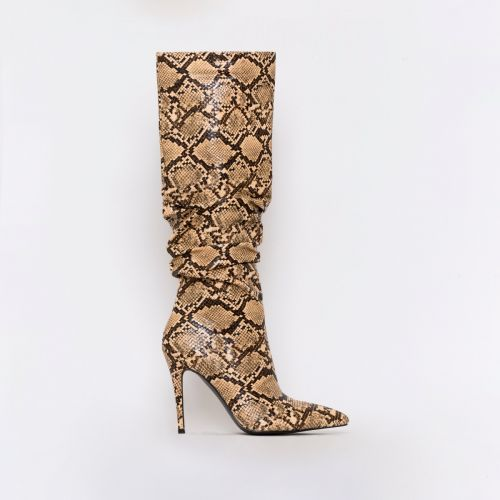 Ebony Beige Snake Print Ruched Stiletto Knee Boots