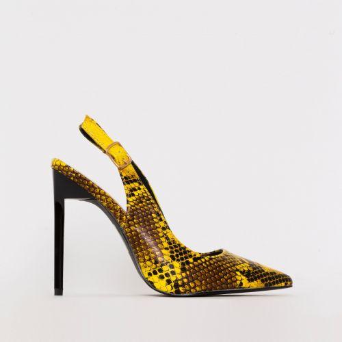 Ines Yellow Snake Print Slingback Court Heels