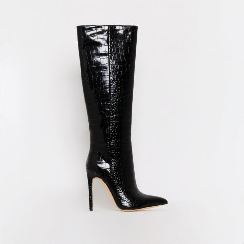 Delia Black Croc Print Stiletto Knee Boots