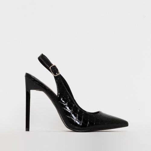 Ines Black Patent Croc Print Slingback Court Heels