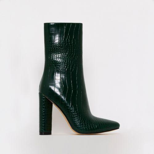 Katy Green Croc Print Block Heel Ankle Boots
