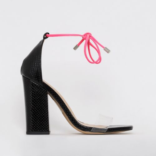 Jaylah Black Snake Neon Lace Up Block Heels