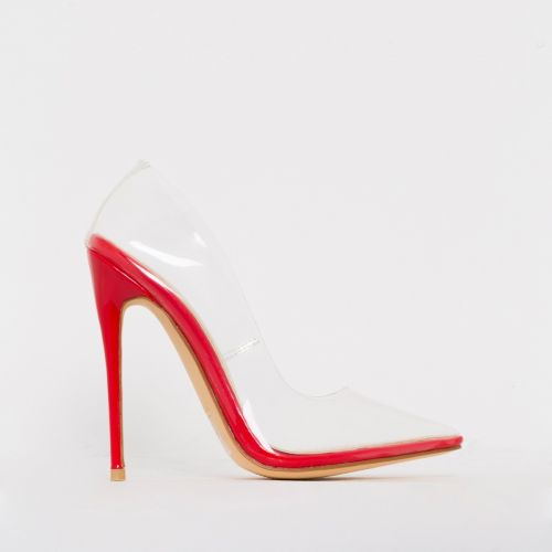 Simone Red Clear Stiletto Court Shoes