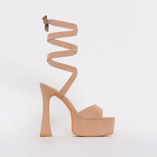 Melly Nude Suede Lace Up Platform Heels