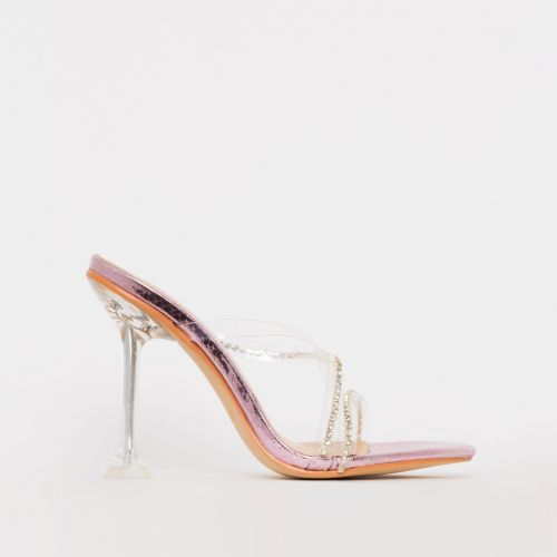 Cassia Pink Snake Print Diamante Clear Stiletto Mules