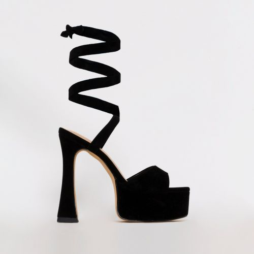 Melly Black Suede Lace Up Platform Heels