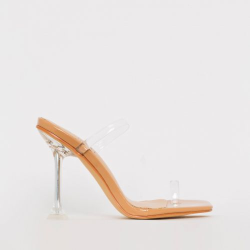 Aurelia Nude Patent Clear Toe Loop Stiletto Heels