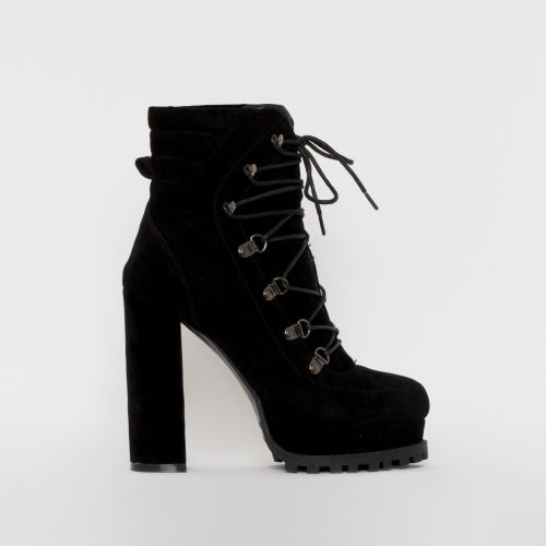 Jackson Black Suede Lace Up Platform Ankle Boots