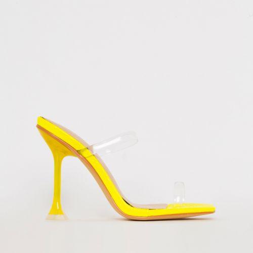 Aurelia Yellow Patent Python Print Clear Toe Loop Heels