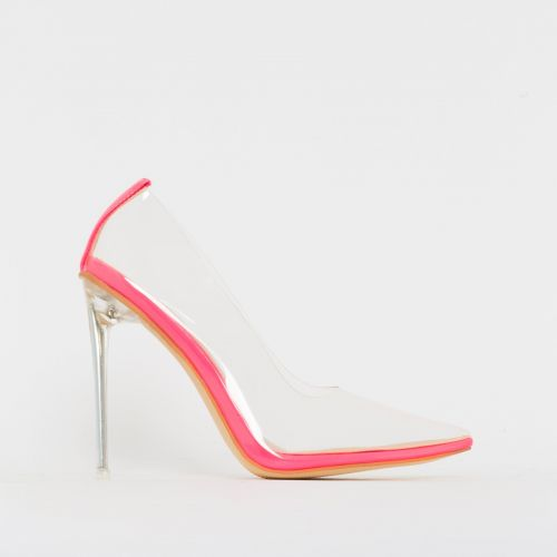 Christie Hot Pink Patent Clear Stiletto Court Shoes