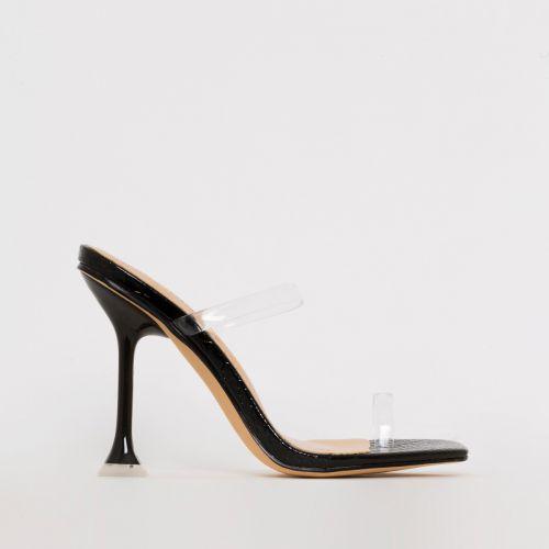 Aurelia Black Patent Python Print Clear Toe Loop Heels