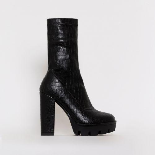 True Black Croc Print Platform Ankle Boots