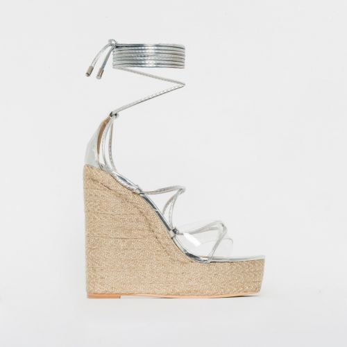 Misty Silver Clear Lace Up Espadrille Wedges