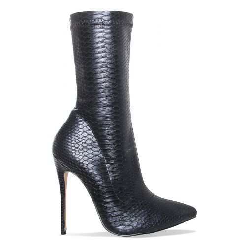 Jadah Black Snake Print Pointed Toe Ankle Boots