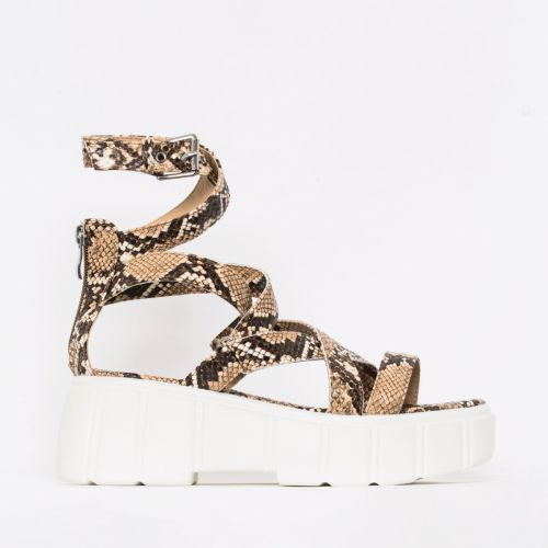 Kenzie Beige Snake Print Lace Up Chunky Flatforms