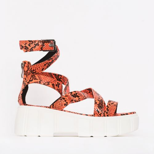 Kenzie Coral Snake Print Lace Up Chunky Flatforms