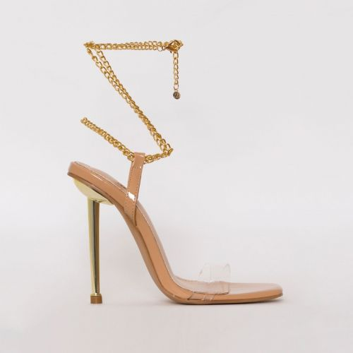 Amarissa Nude Patent Clear Chain Heels
