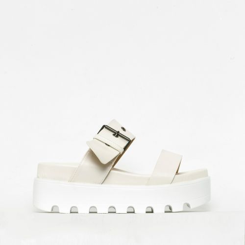 Izzie White Buckle Chunky Flatforms