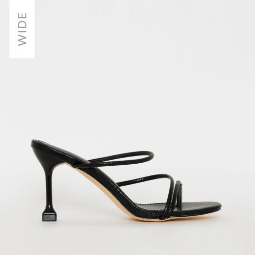 Jada Wide Fit Black Faux Snake Print Strappy Mules