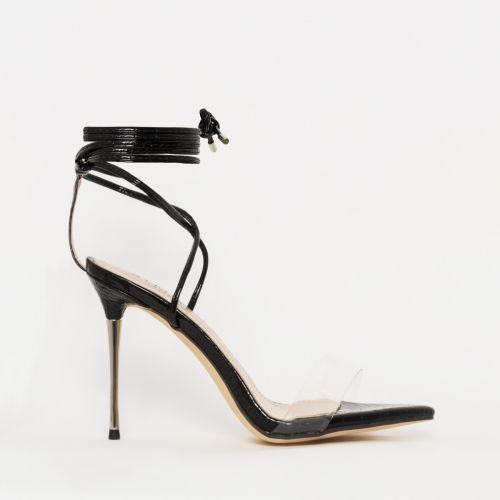 Jamaica Black Patent Python Clear Lace Up Heels