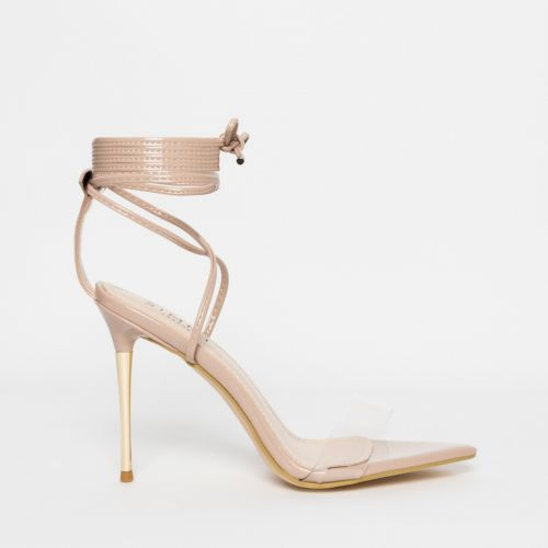 Jamaica Nude Patent Clear Lace Up Heels