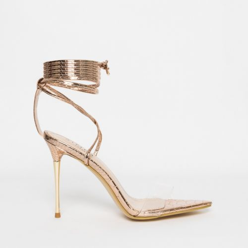Jamaica Rose Gold Python Clear Lace Up Heels