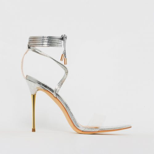 Jamaica Silver Python Print Clear Lace Up Heels
