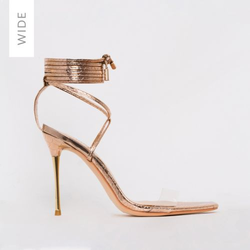 Becky Wide Fit Rose Gold Python Print Clear Lace Up Heels