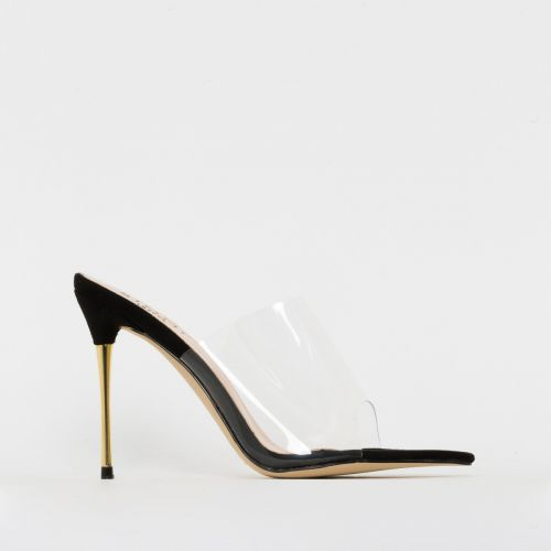 Nadia Black Suede Clear Gold Stiletto Mules