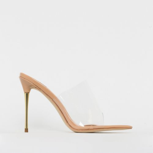 Nadia Nude Patent Clear Gold Stiletto Mules