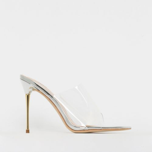 Nadia Silver Clear Gold Stiletto Mules