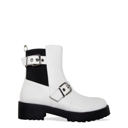 Jaden White Buckle Ankle Boots