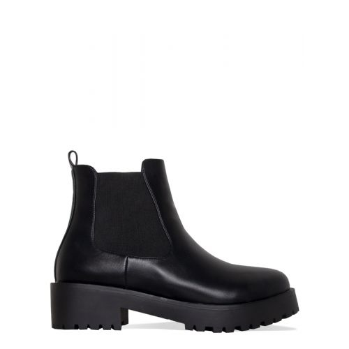 Toni Black Cleated Flat Ankle Boots