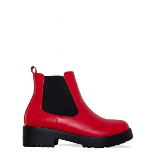 Toni Red Cleated Flat Ankle Boots