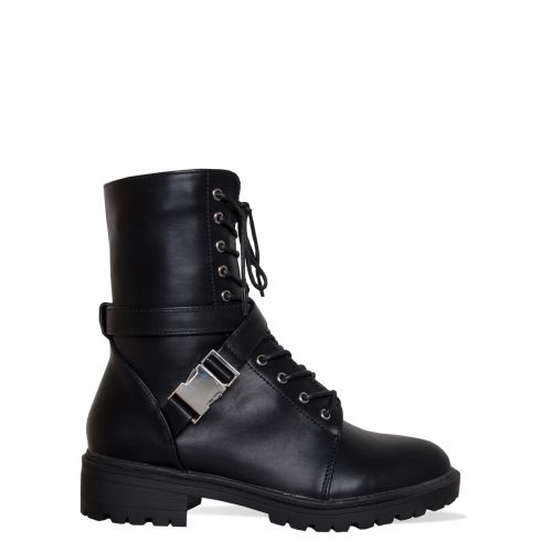 Joslin Black Lace Up Buckle Ankle Boots