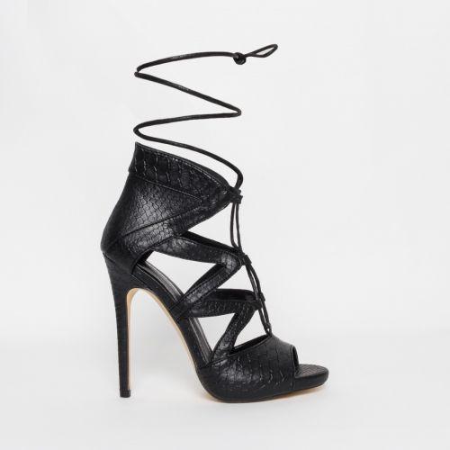 Joanna Black Snake Lace Up Stiletto Heels