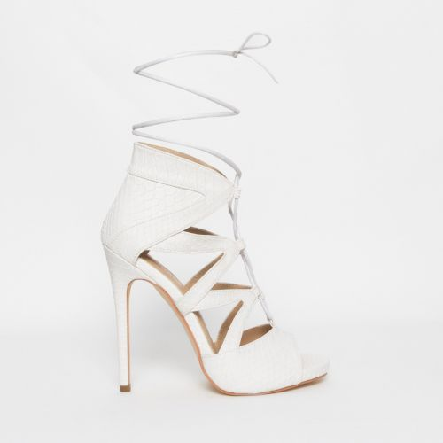Joanna White Snake Lace Up Stiletto Heels